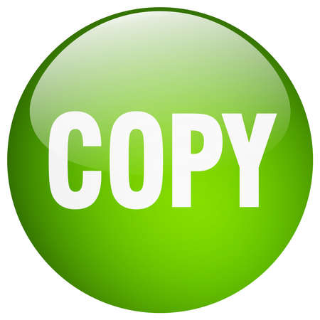 copy: copy green round gel isolated push button