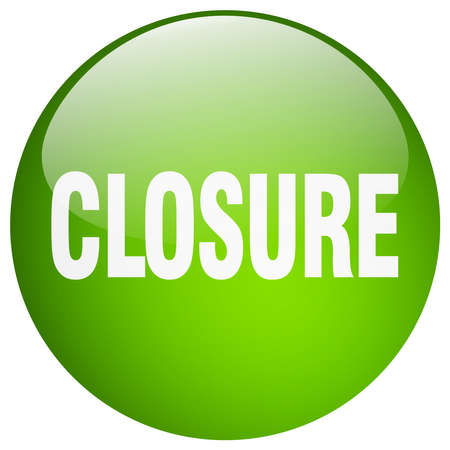 closure: closure green round gel isolated push button