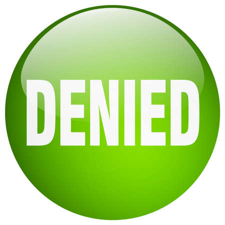 denied: denied green round gel isolated push button Illustration