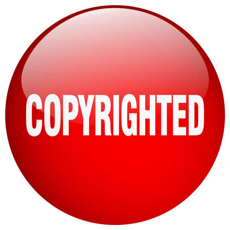 copyrighted: copyrighted red round gel isolated push button Illustration
