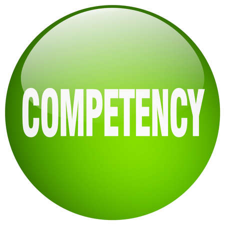 competency: competency green round gel isolated push button Illustration