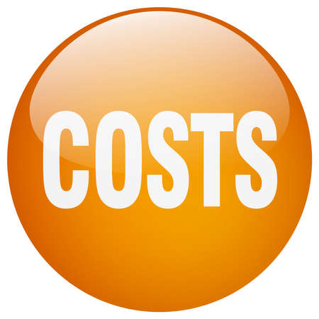 costs: costs orange round gel isolated push button