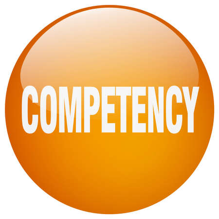 competency: competency orange round gel isolated push button