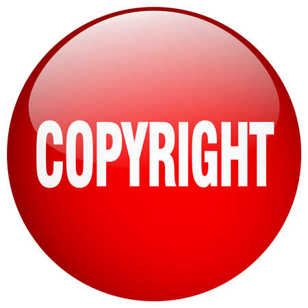 copyright: copyright red round gel isolated push button