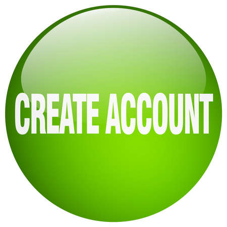 create: create account green round gel isolated push button