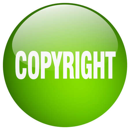 copyrighted: copyright green round gel isolated push button