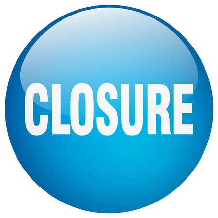 closure: closure blue round gel isolated push button