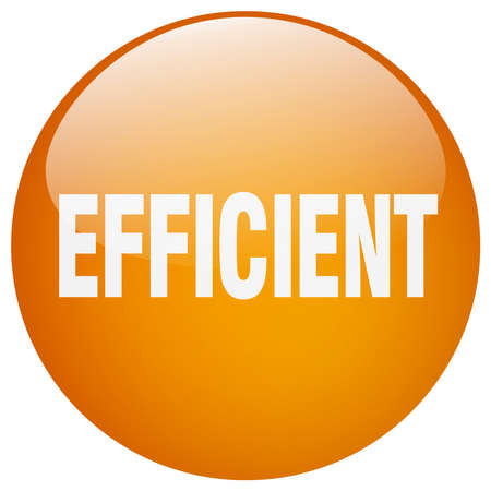 efficient: efficient orange round gel isolated push button Illustration