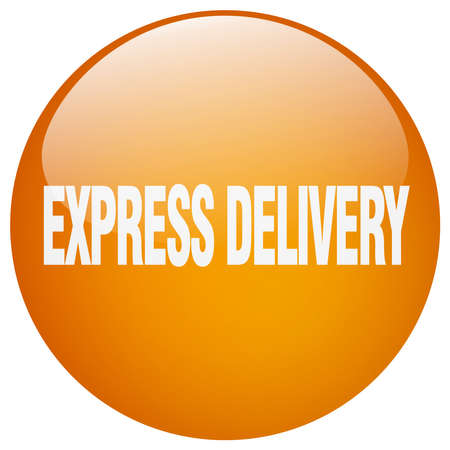 express delivery: express delivery orange round gel isolated push button Illustration