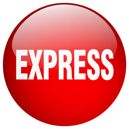 express: express red round gel isolated push button Illustration