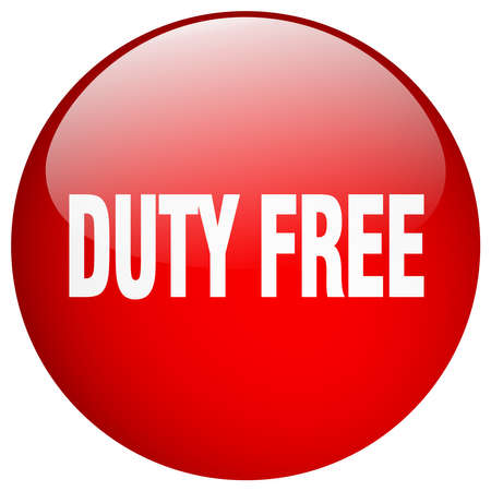 duty: duty free red round gel isolated push button Illustration
