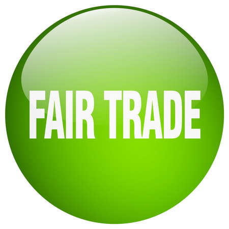 fair trade: fair trade green round gel isolated push button Illustration