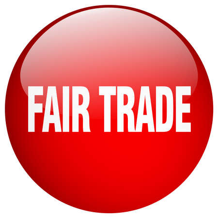 fair trade: fair trade red round gel isolated push button
