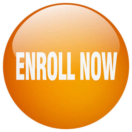 enroll: enroll now orange round gel isolated push button Illustration