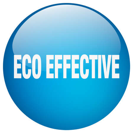 effective: eco effective blue round gel isolated push button Illustration