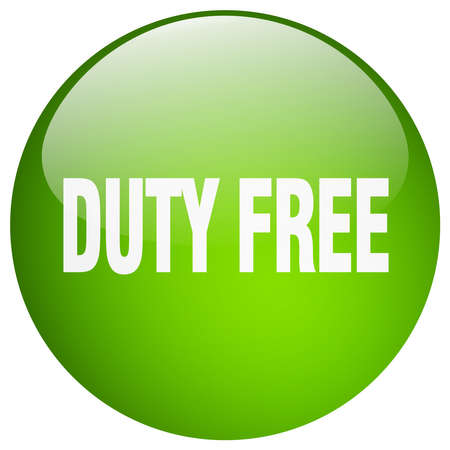 duty free: duty free green round gel isolated push button