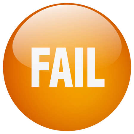 gel: fail orange round gel isolated push button