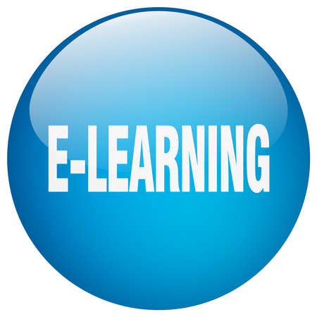 gel: e-learning blue round gel isolated push button