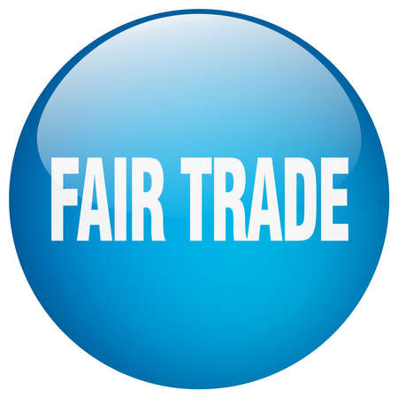 fair trade: fair trade blue round gel isolated push button Illustration