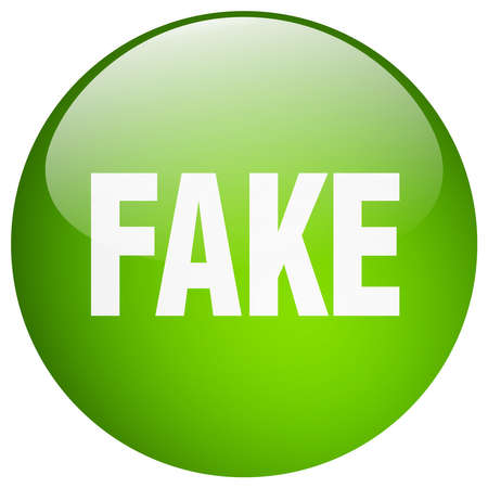 fake: fake green round gel isolated push button
