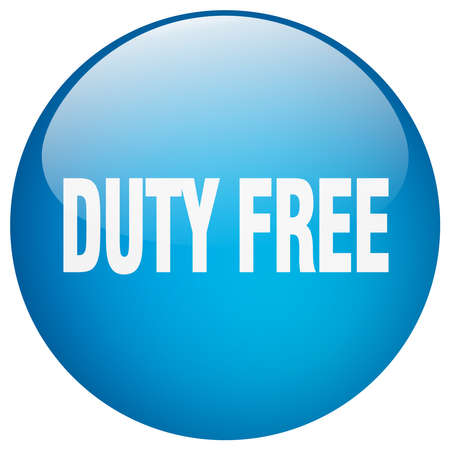 duty: duty free blue round gel isolated push button