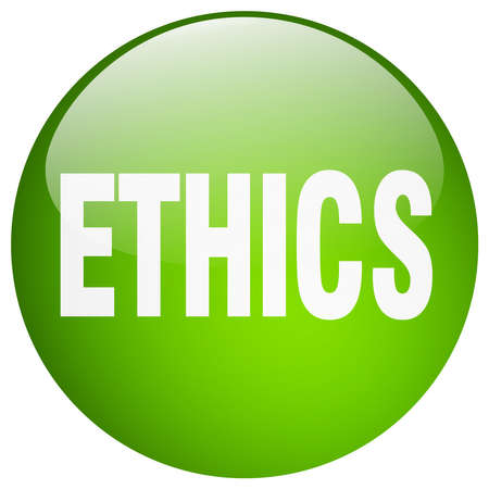 ethics: ethics green round gel isolated push button