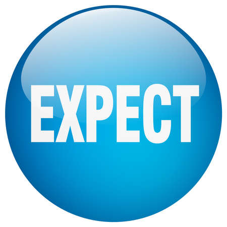 expect: expect blue round gel isolated push button Illustration