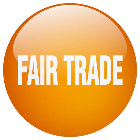 fair trade: fair trade orange round gel isolated push button