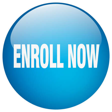 enroll: enroll now blue round gel isolated push button