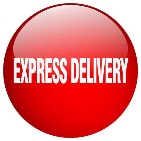 express delivery: express delivery red round gel isolated push button Illustration