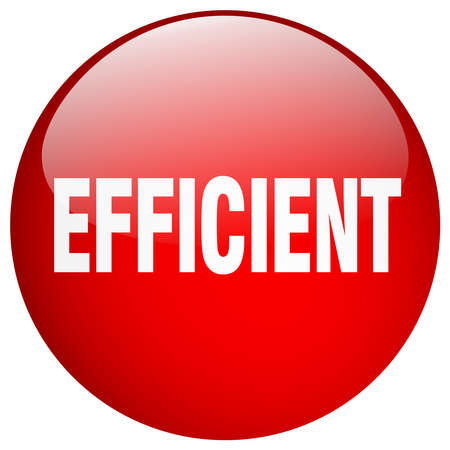 efficient: efficient red round gel isolated push button Illustration