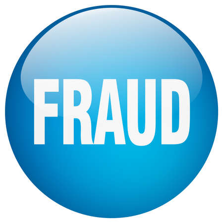fraud: fraud blue round gel isolated push button Illustration