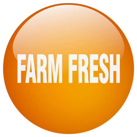 farm fresh: farm fresh orange round gel isolated push button