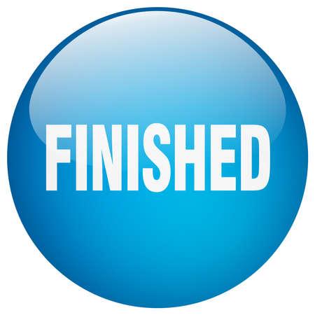 finished: finished blue round gel isolated push button