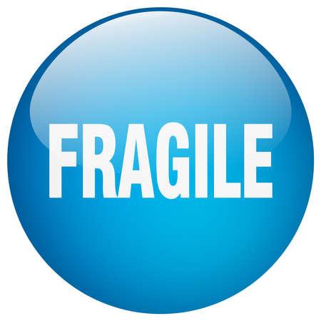 gel: fragile blue round gel isolated push button
