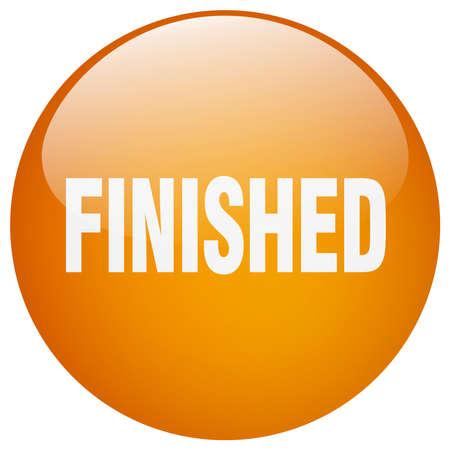 finished: finished orange round gel isolated push button Illustration