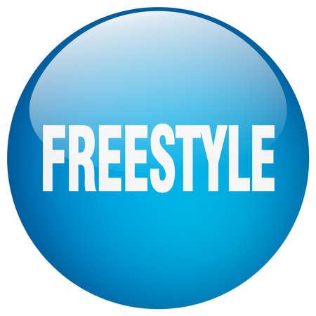 freestyle: freestyle blue round gel isolated push button Illustration