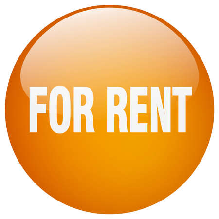 rent: for rent orange round gel isolated push button