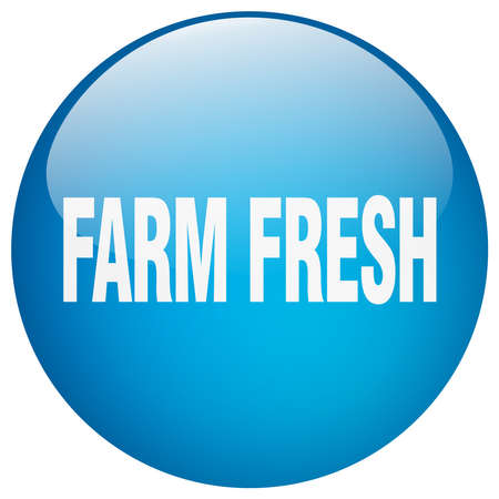 farm fresh: farm fresh blue round gel isolated push button