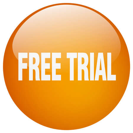 free trial: free trial orange round gel isolated push button