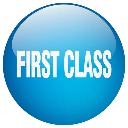 first class: first class blue round gel isolated push button