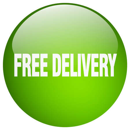 free delivery: free delivery green round gel isolated push button Illustration