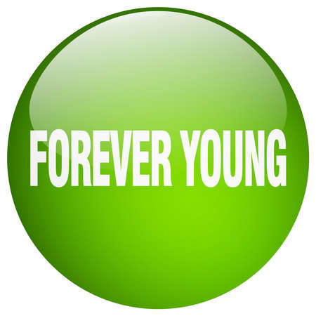 forever young green round gel isolated push button Illustration