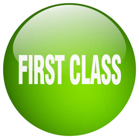 first in class: first class green round gel isolated push button
