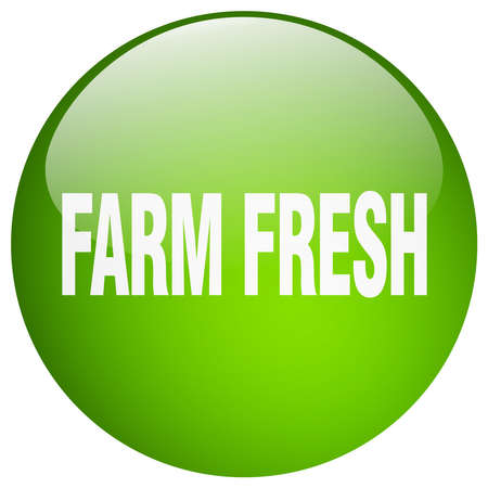 farm fresh: farm fresh green round gel isolated push button
