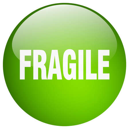 push: fragile green round gel isolated push button