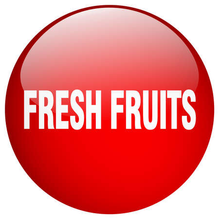 fresh fruits: fresh fruits red round gel isolated push button Illustration