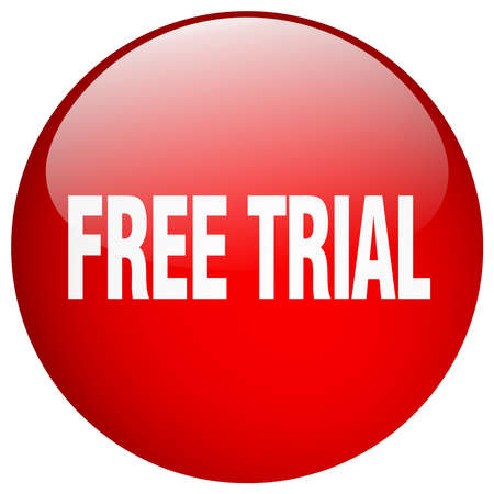 free trial: free trial red round gel isolated push button Illustration