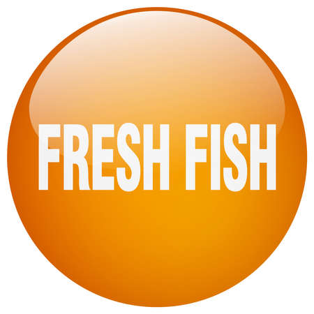 fresh fish: fresh fish orange round gel isolated push button