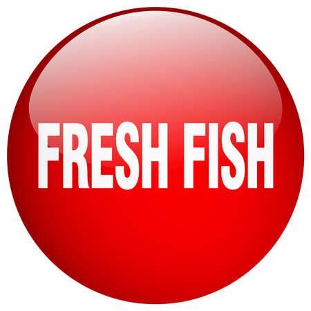 fresh fish: fresh fish red round gel isolated push button Illustration